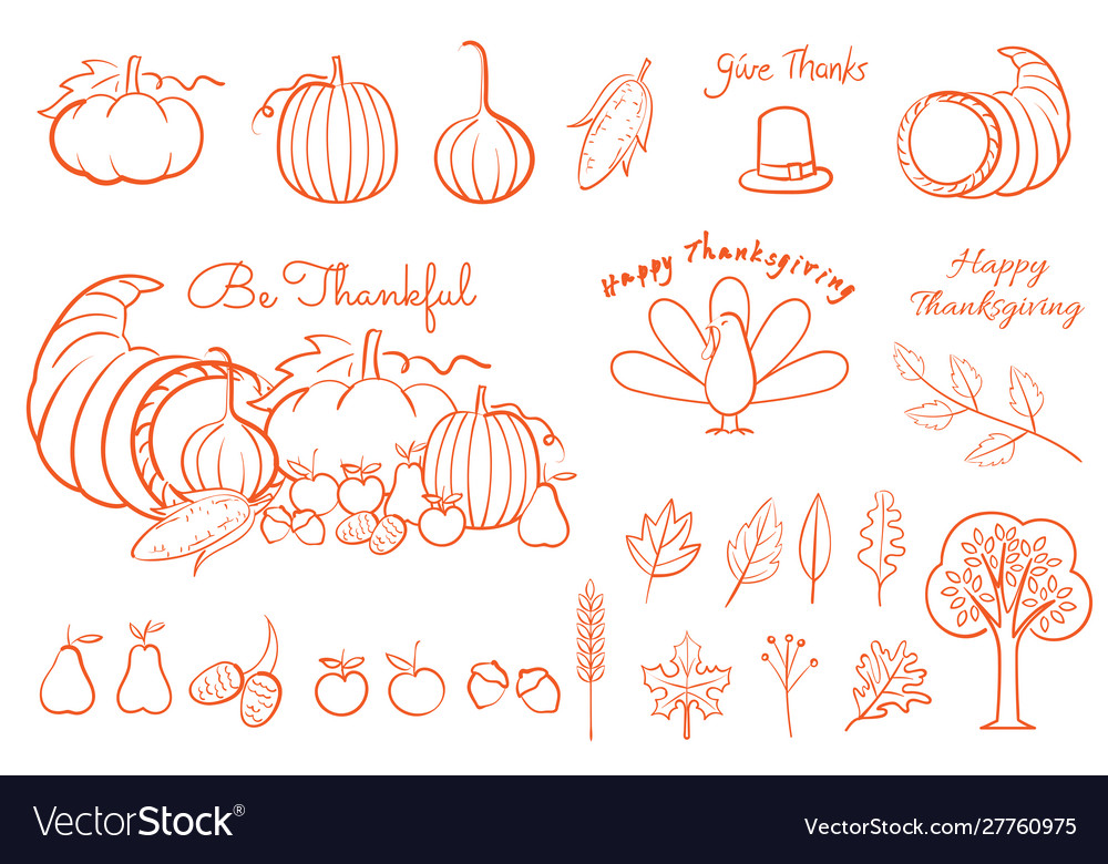 Thanksgiving hand drawing element line art for