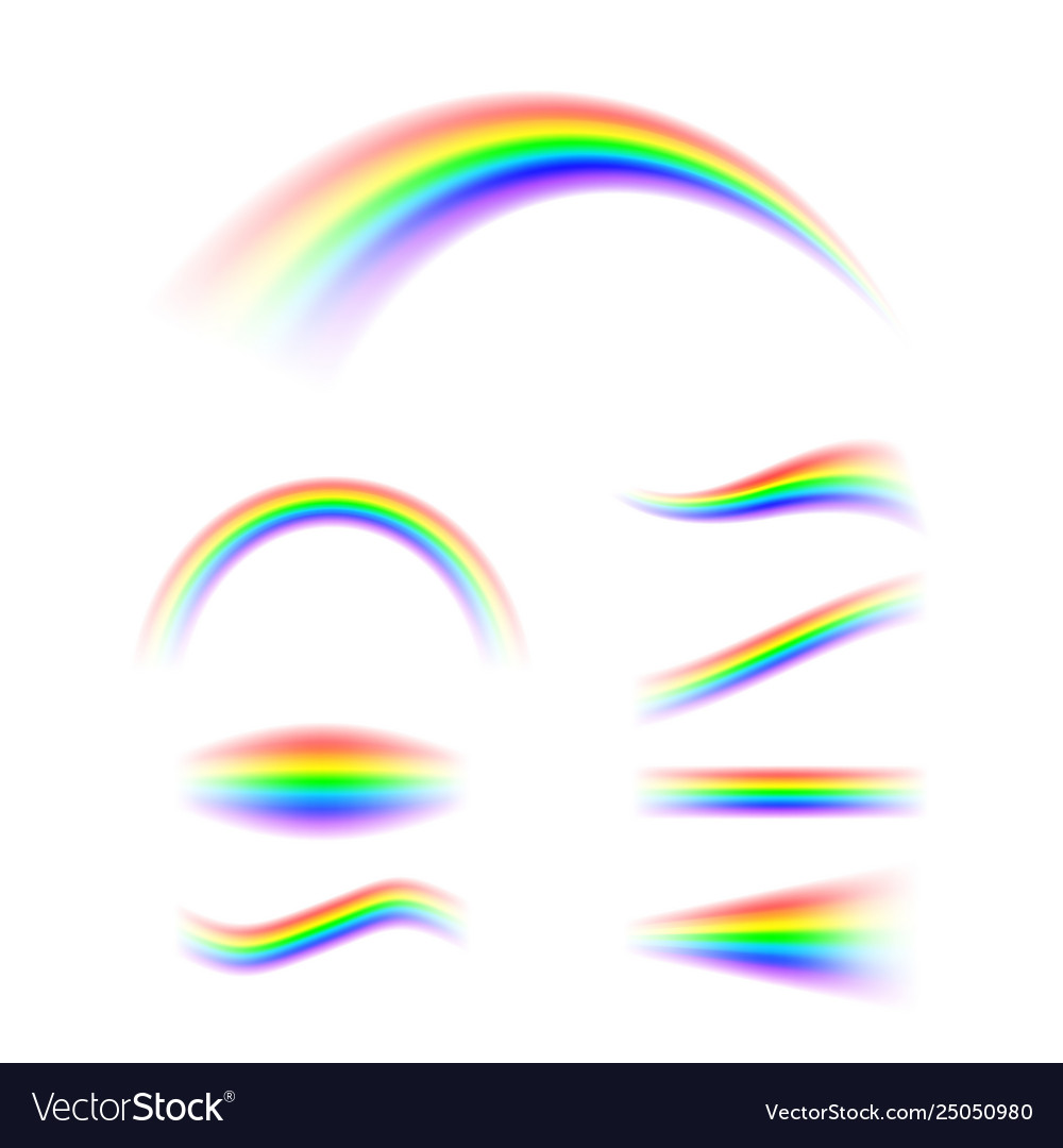 Abstract rainbow set in different shapes spectrum