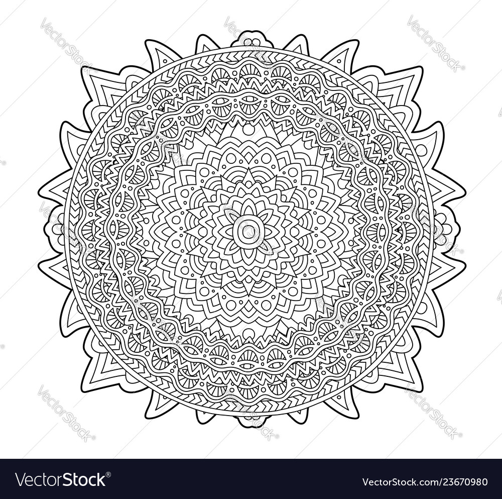 Adult coloring book page with round pattern