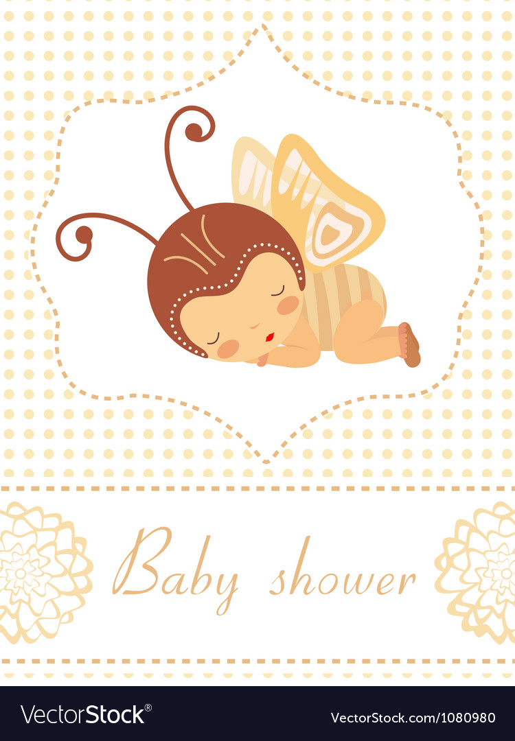 Baby shower card with butterfly girl sleeping