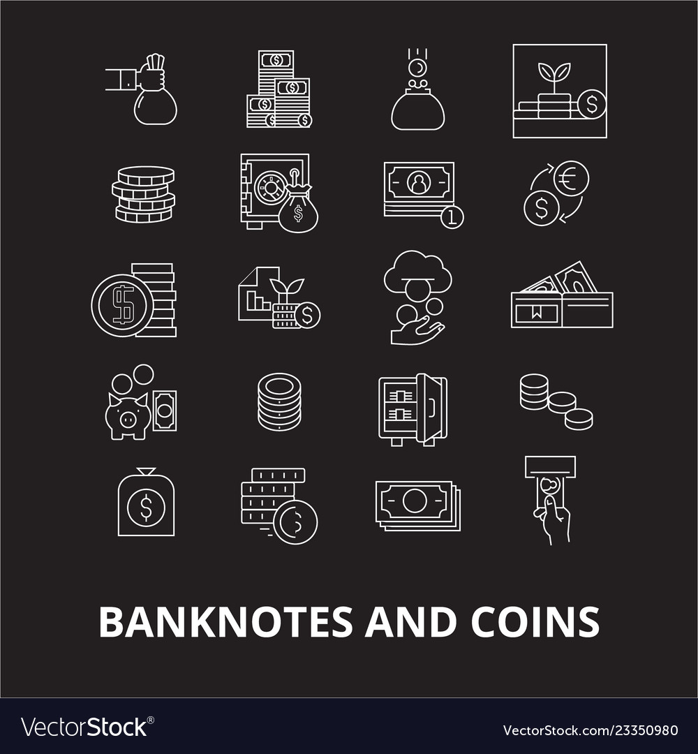 Banknotes and coins editable line icons set