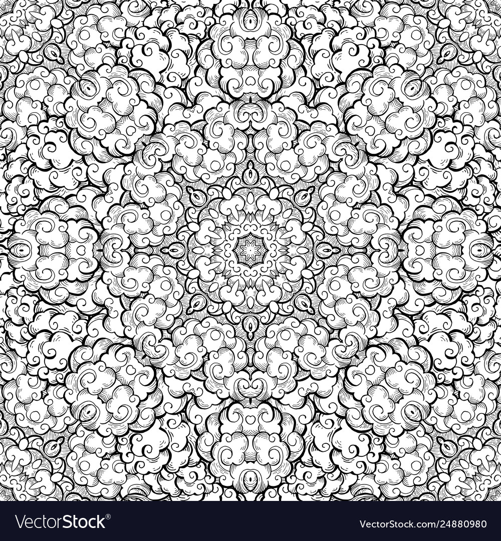 Clouds hand drawn abstract seamless pattern
