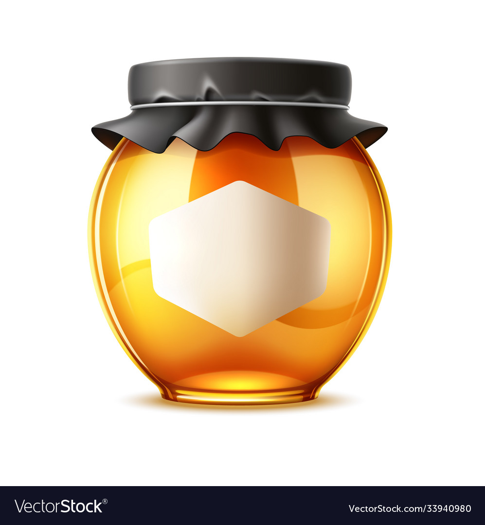 Delicious honey ad glass jar with lid