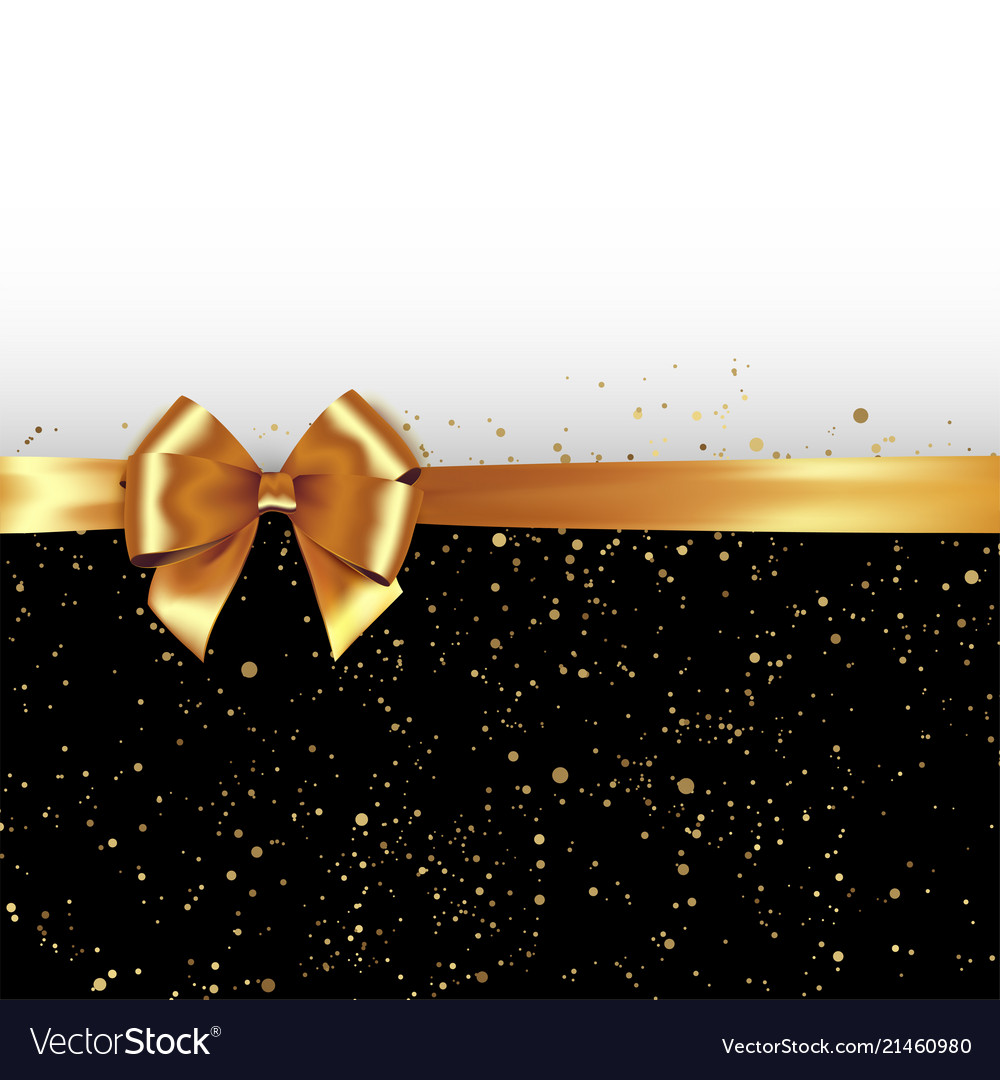Golden glitter background with gold silk bow and