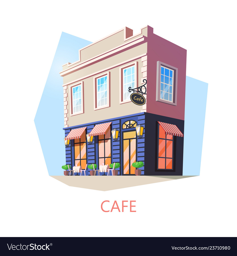 Isometric cafe or cafeteria bistro building