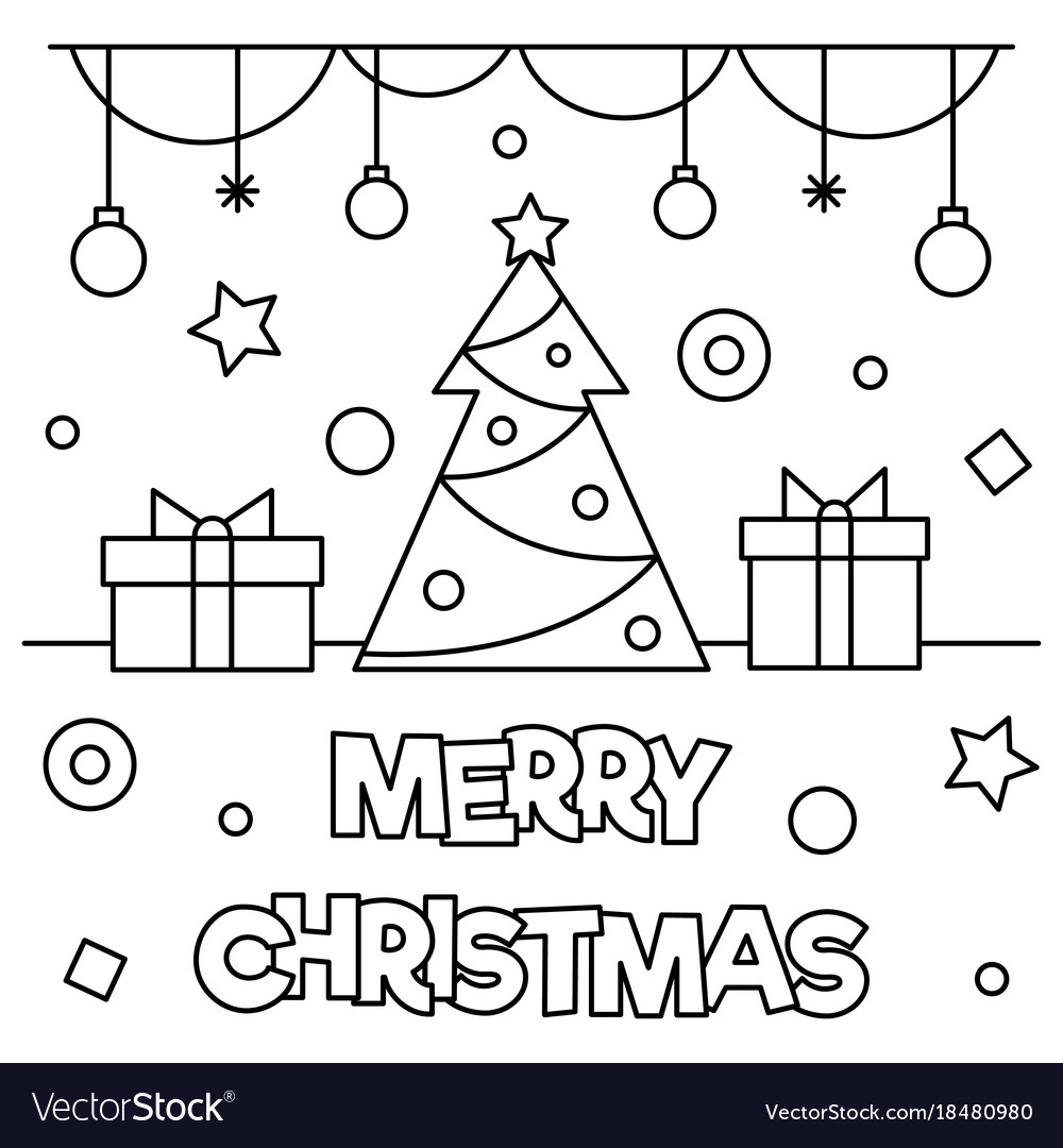 Merry christmas coloring page Royalty
