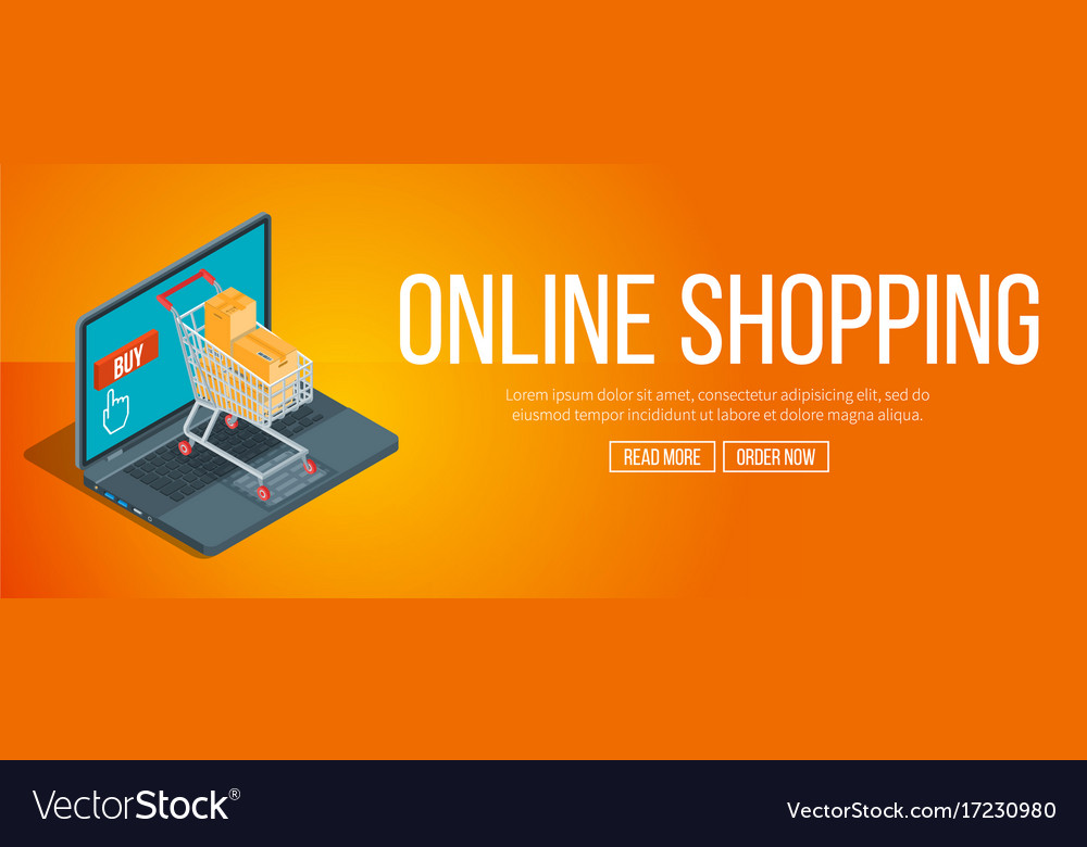 edb7a4b8fe7 Online shopping banner Royalty Free Vector Image