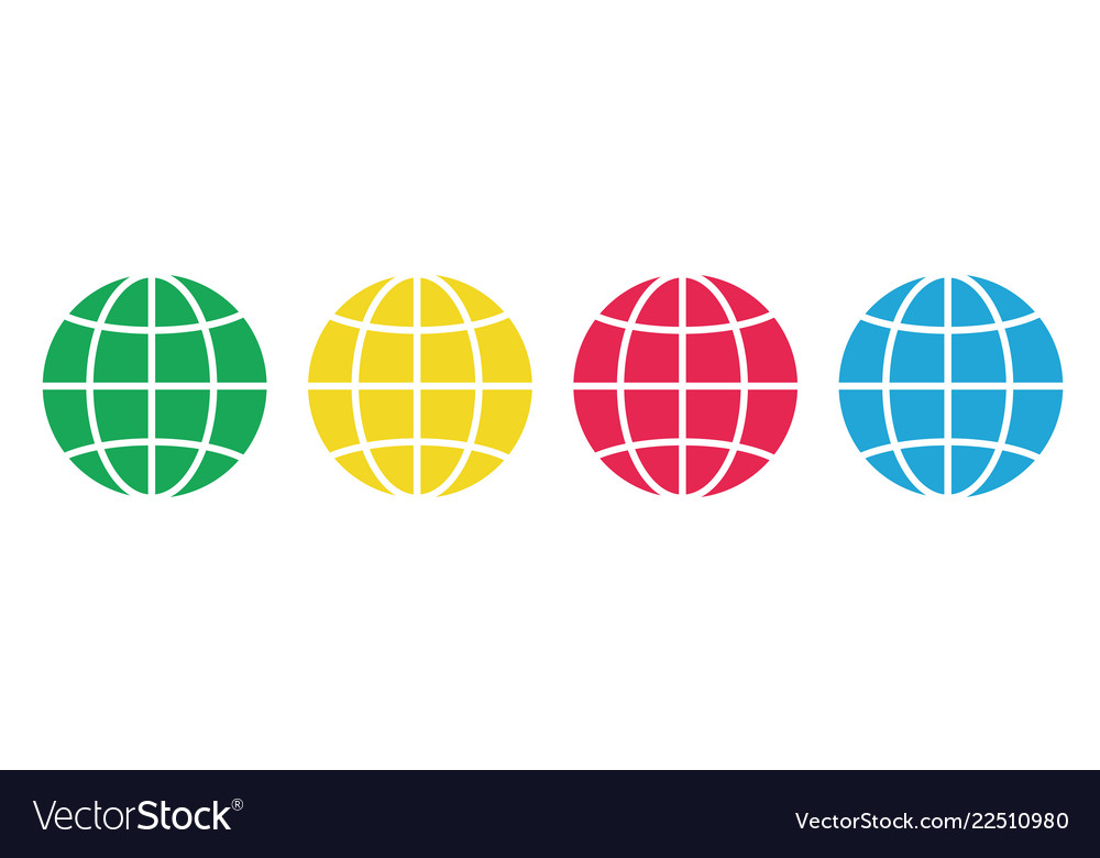 Set of colored earth icons placed on white