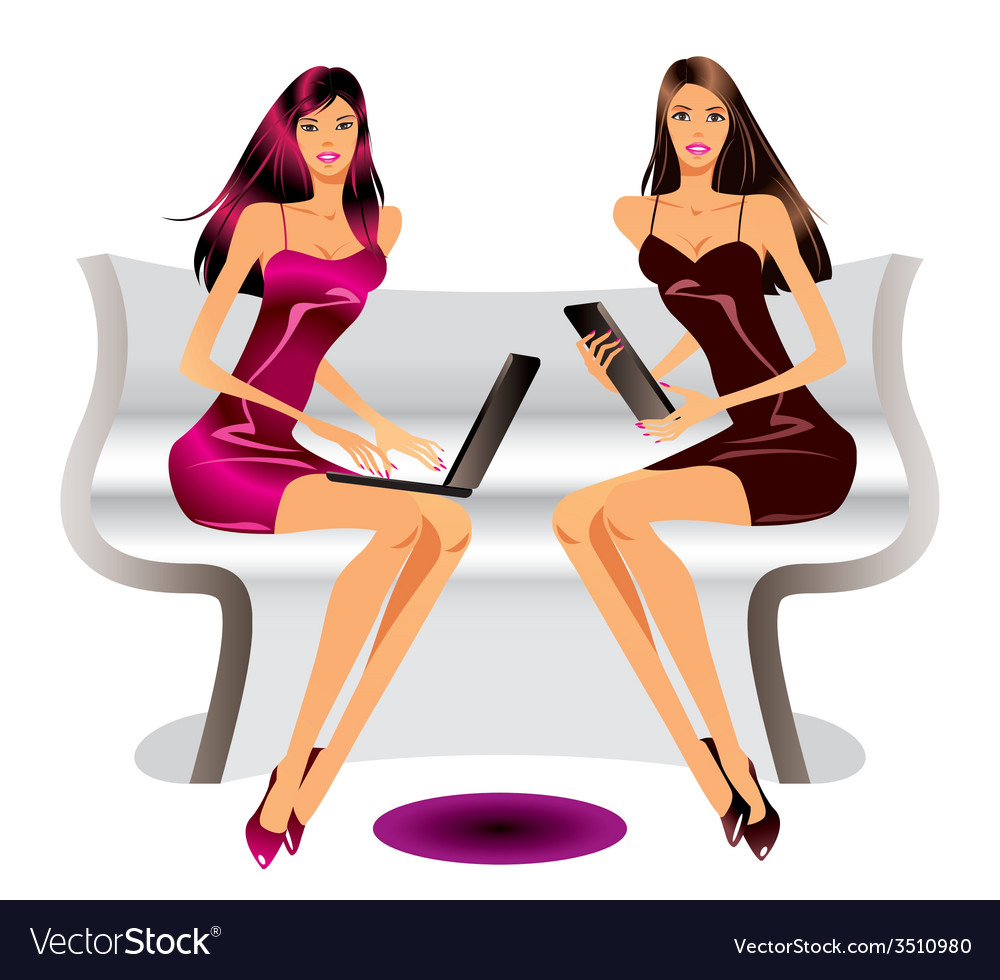 Two fashion models with laptop and tablet
