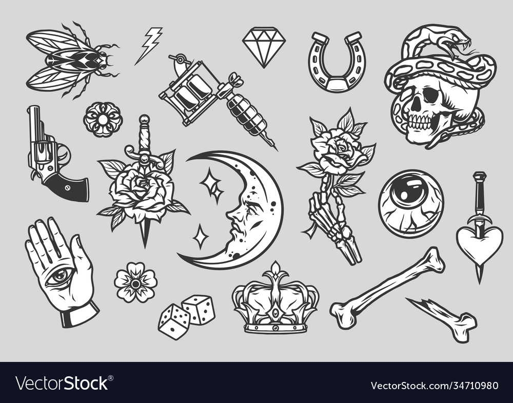 Vintage tattoos composition vector