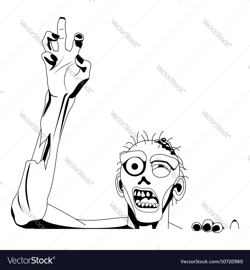 Zombie Black Silhouette For White Background Vector Image