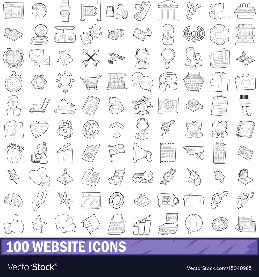 100 website icons set outline style