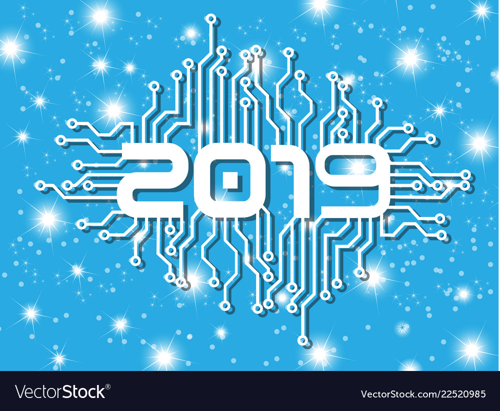 2019 happy new year circuit with stars blue vector image