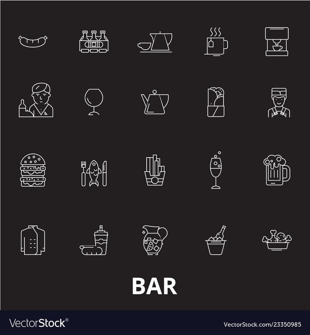 Bar editable line icons set on black