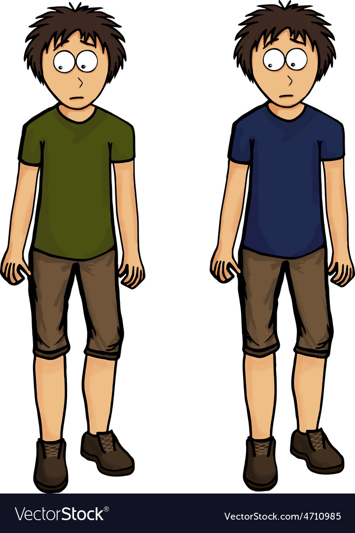 Boy in shorts design drawing emotion vector image