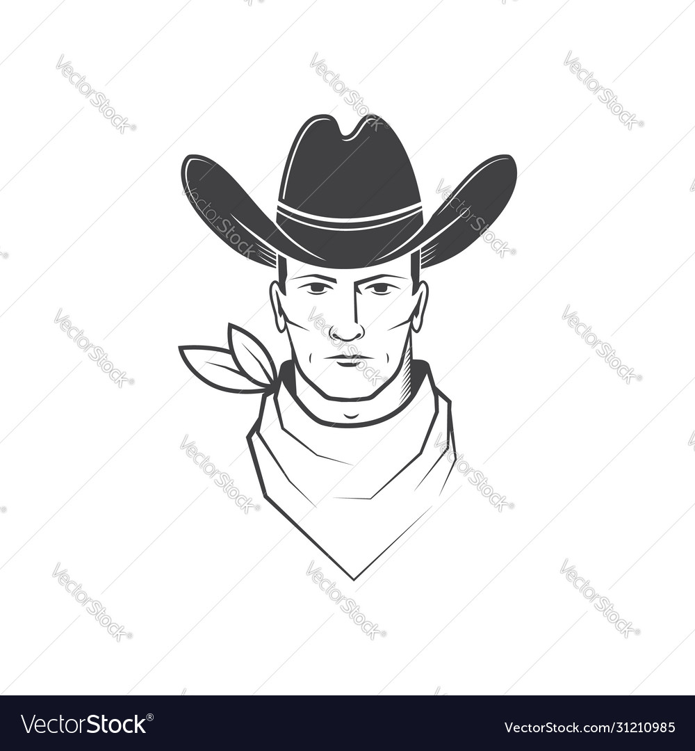 Cowboy face isolated on white background