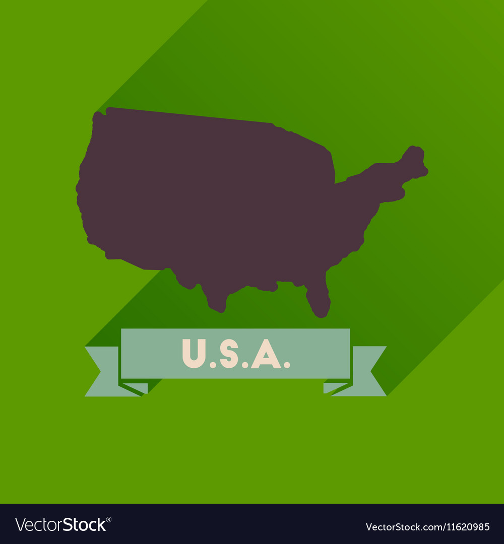 Picture of: Flat Icon With Long Shadow United States Map Vector Image