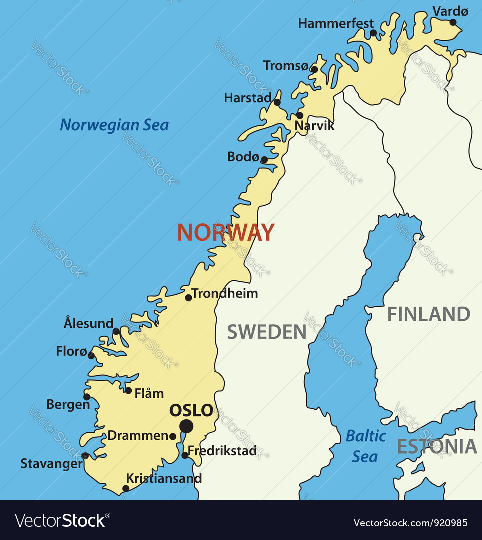 Map Of Norway Map of Norway Royalty Free Vector Image   VectorStock Map Of Norway