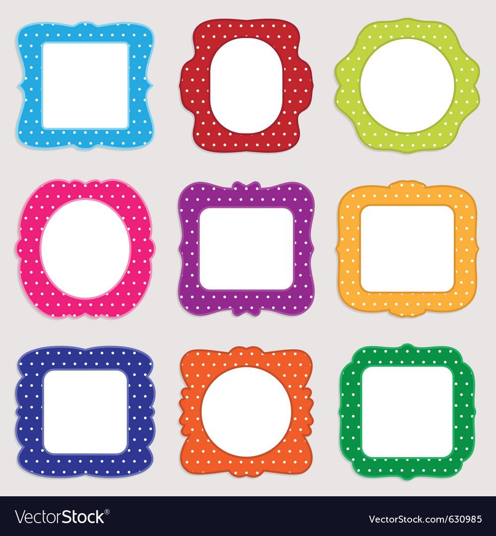 Polka dot frames Royalty Free Vector Image - VectorStock