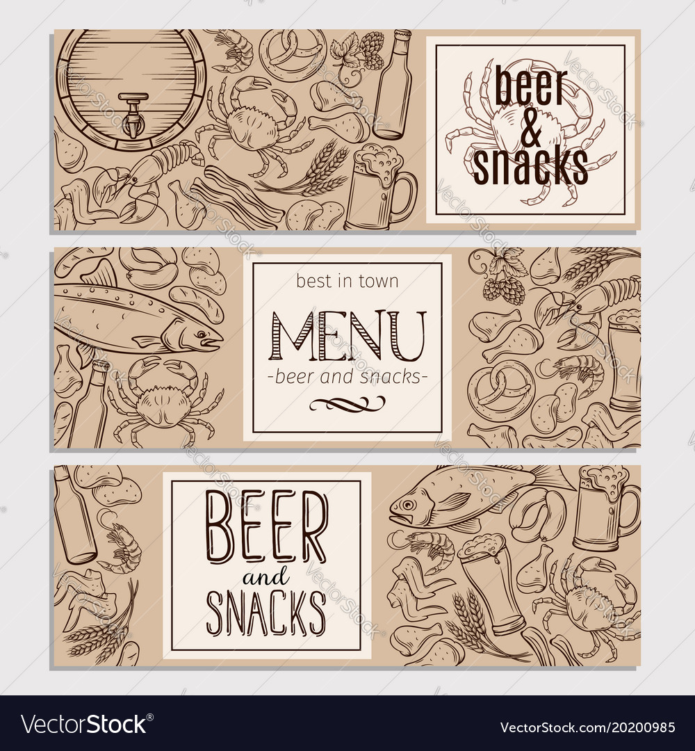 Pub food and beer hand drawn template