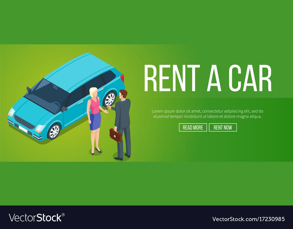 Rent A Car Banner Royalty Free Vector Image Vectorstock