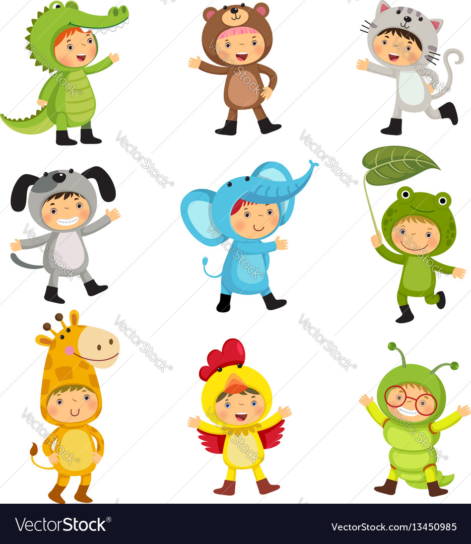 Set of cute kids wearing animal costumes