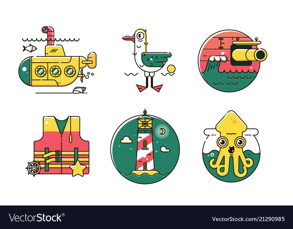 Set of nautical marine line color iconmarine