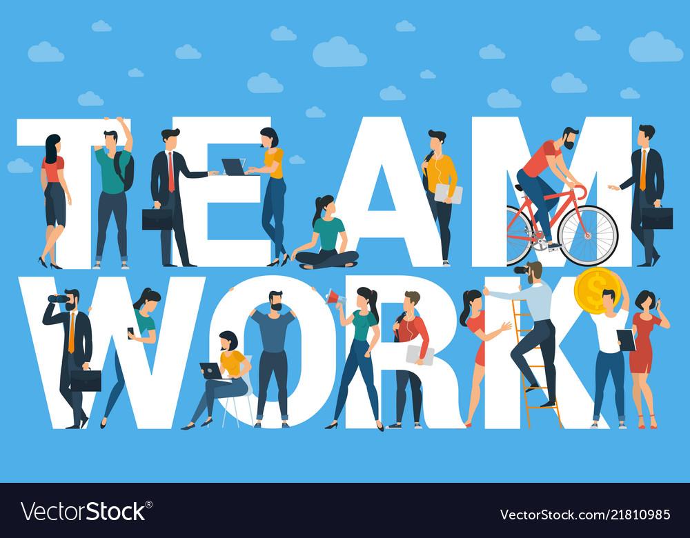 Team work flat design template