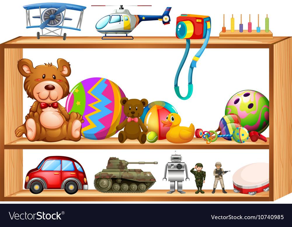 Toys on wooden shelves