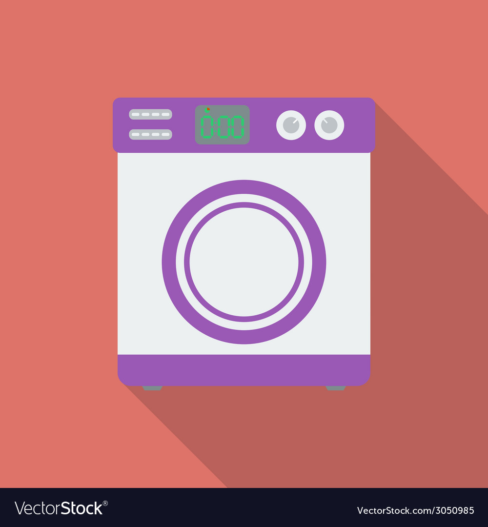 Washing machine icon Modern Flat style with a long