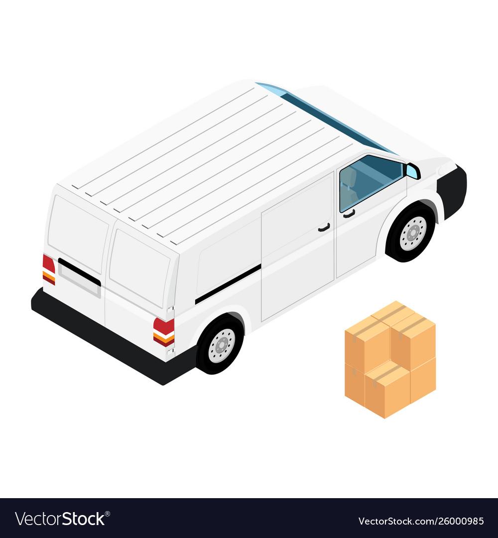 White minivan cargo delivery van deliver