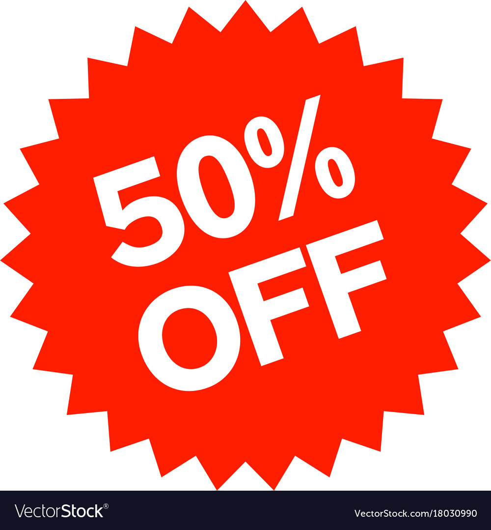 50 percent off sticker royalty free vector image