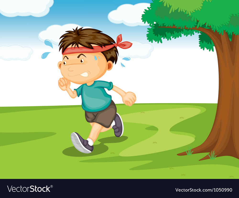 A boy running outside vector image