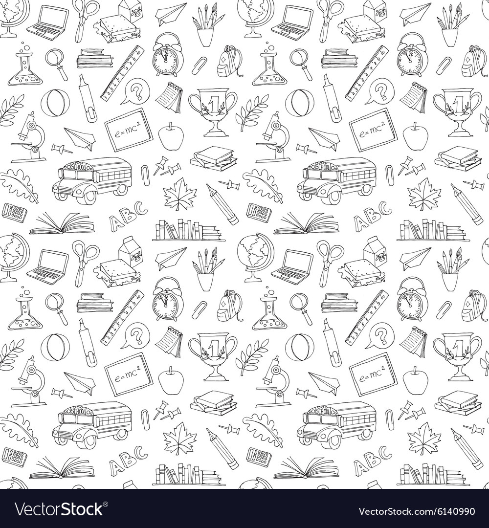 Back to school seamless pattern of kids doodles