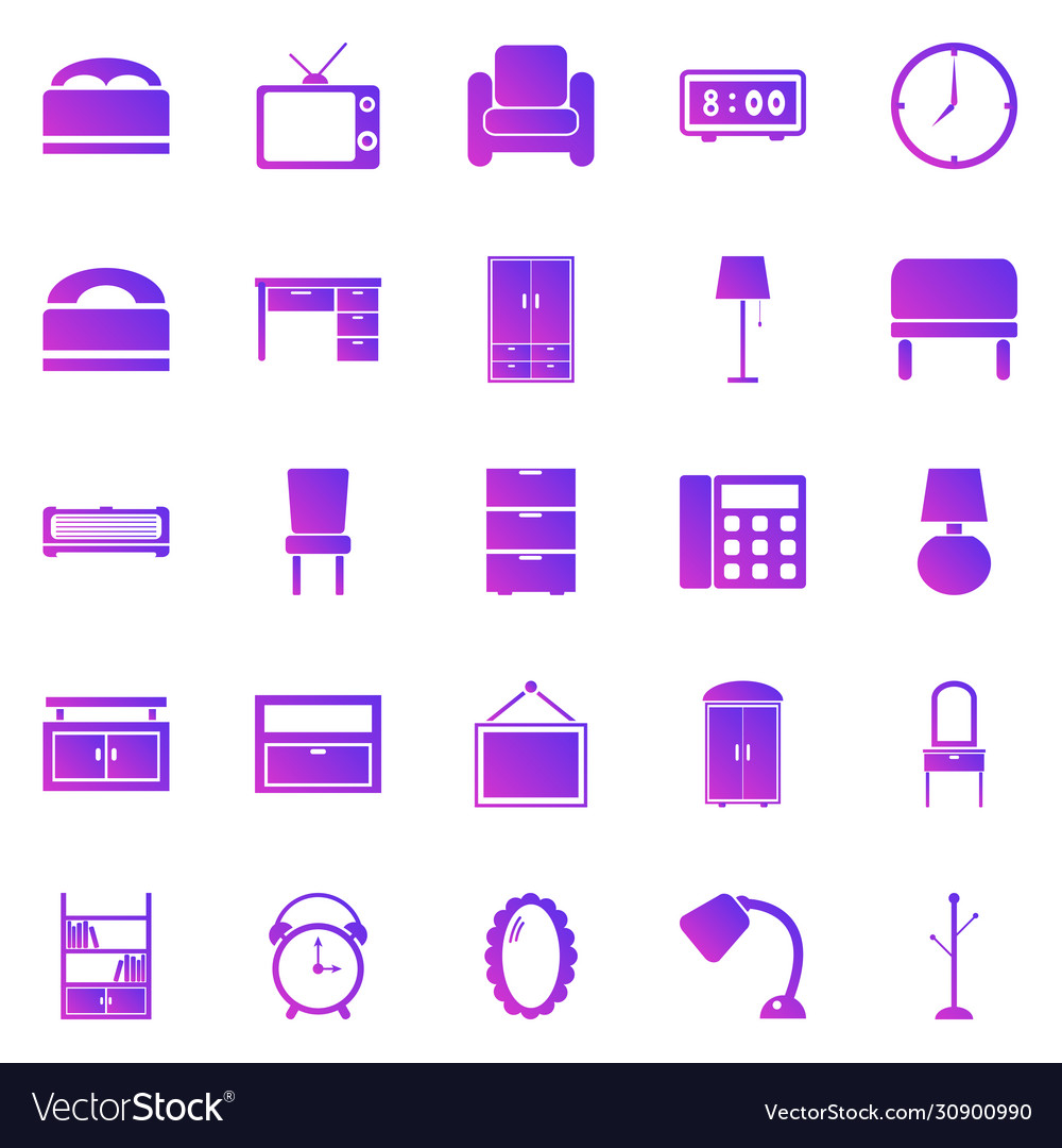 Bedroom gradient icons on white background