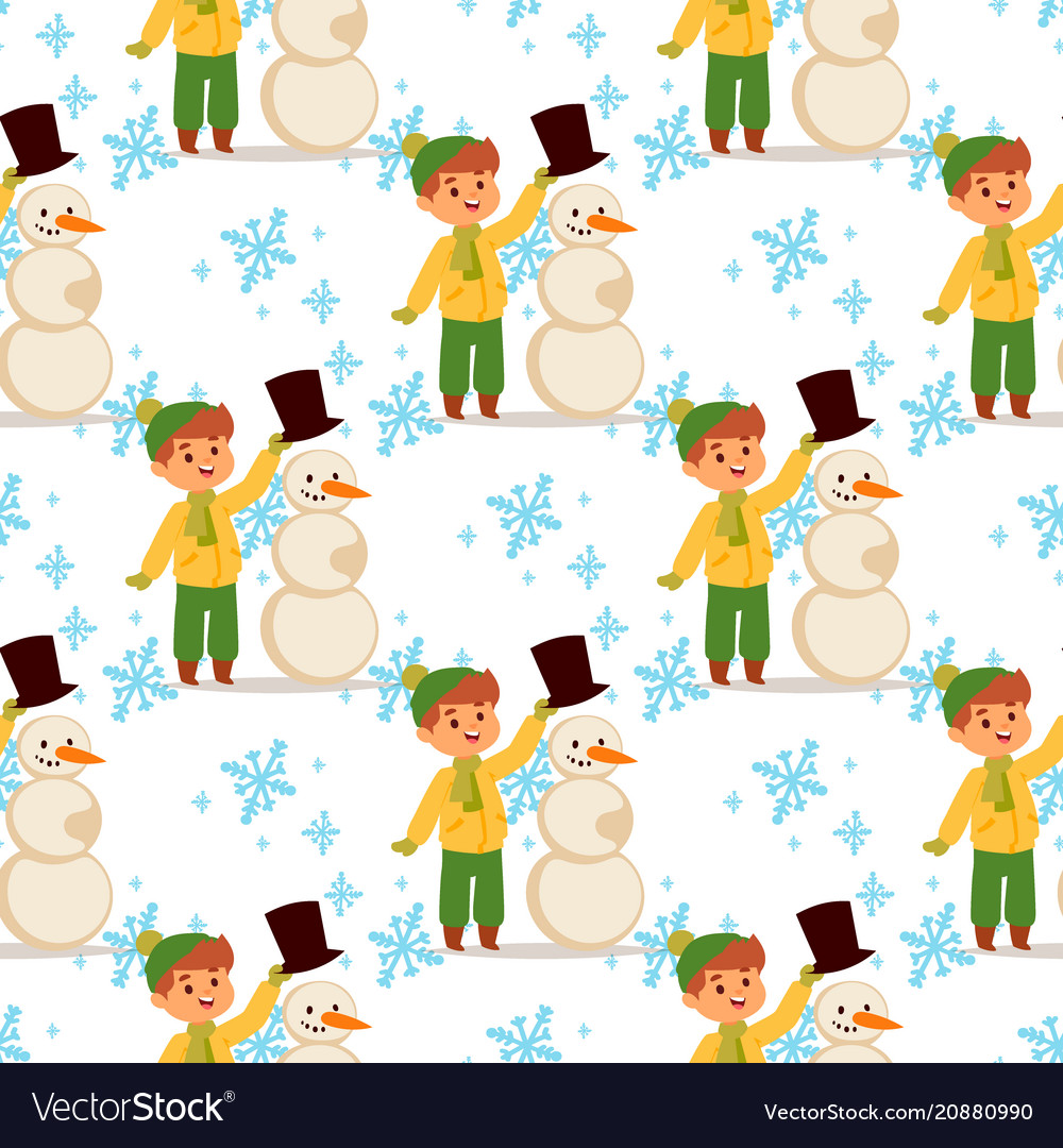 Christmas kid boy character playing winter vector