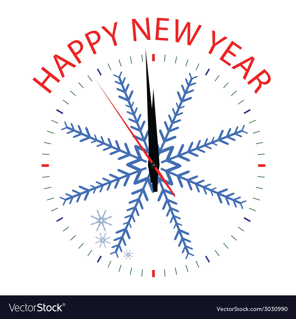 Clock with snowflake for new year