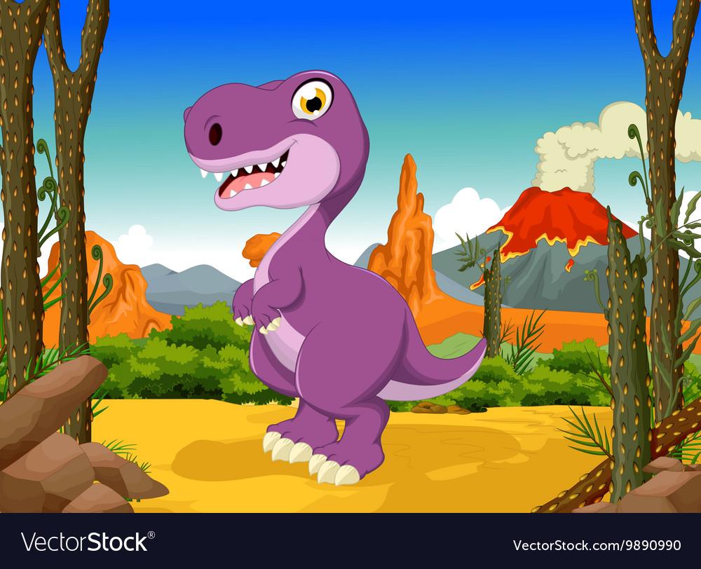 Funny tyrannosaurs cartoon with volcano