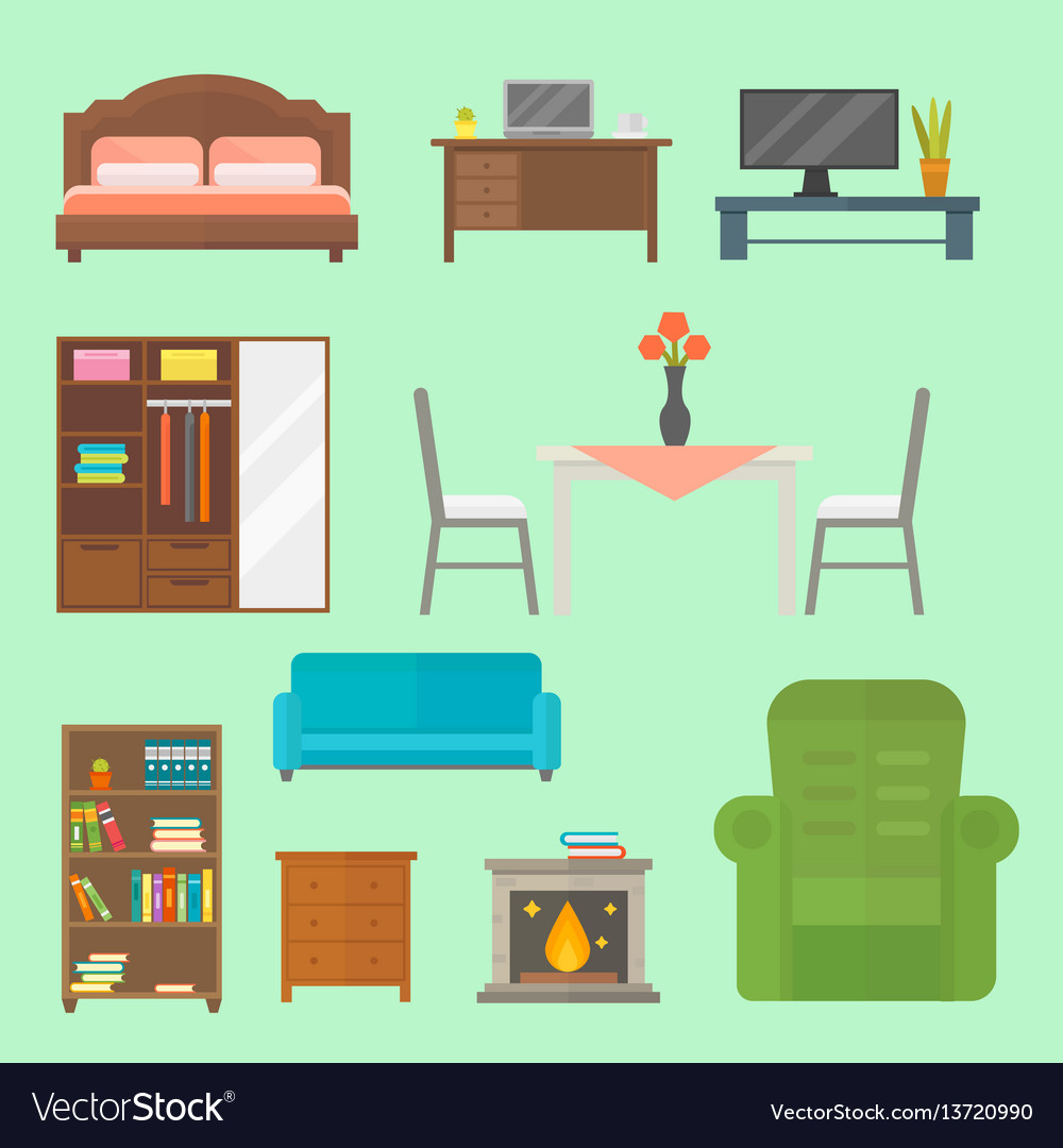 Furniture home decor icon set indoor cabinet