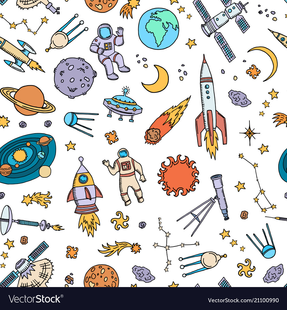 Hand drawn space elements background or