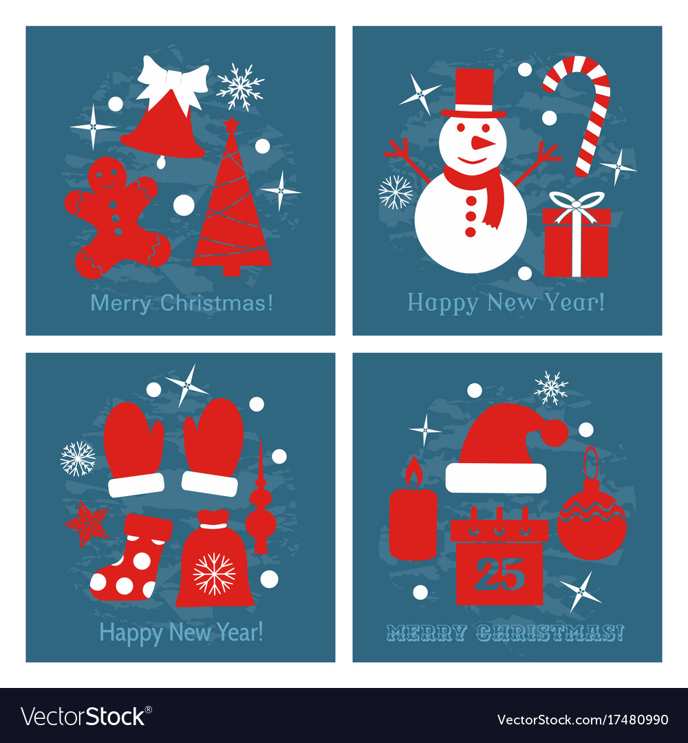 Icons set of christmas cards