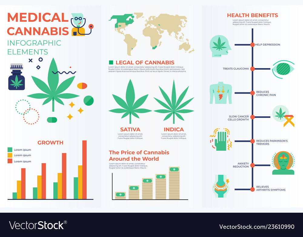 Medical cannabis infographic elements