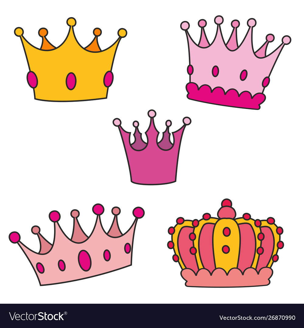 Pastel crown set isolated on white background