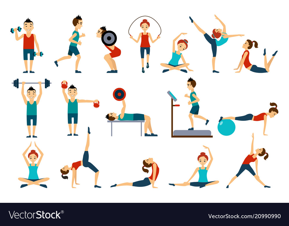 People in gym set workout man and woman