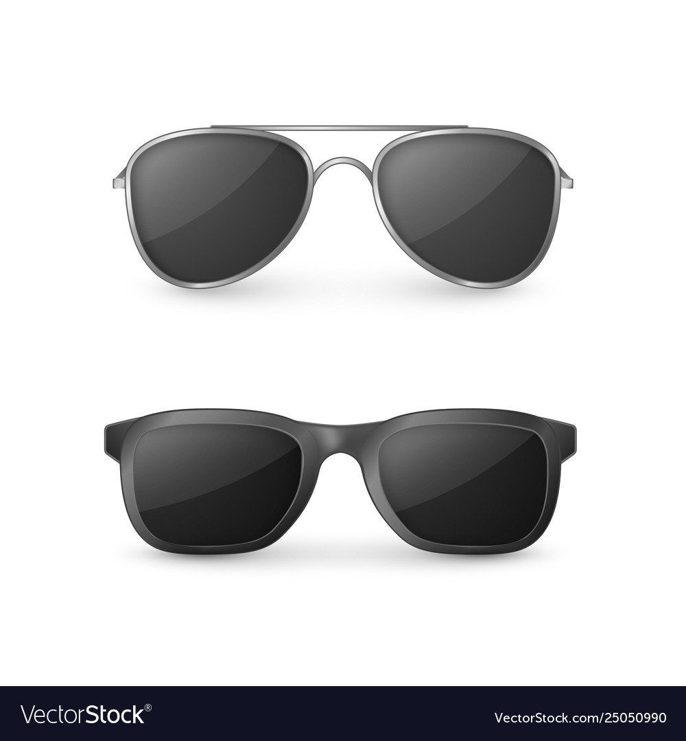 Realistic sunglasses front view plastic glasses