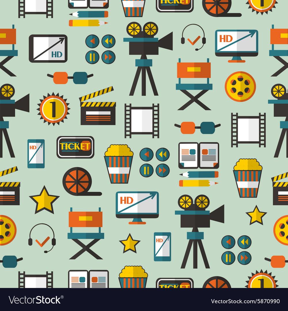 Seamless pattern with cinema equipment