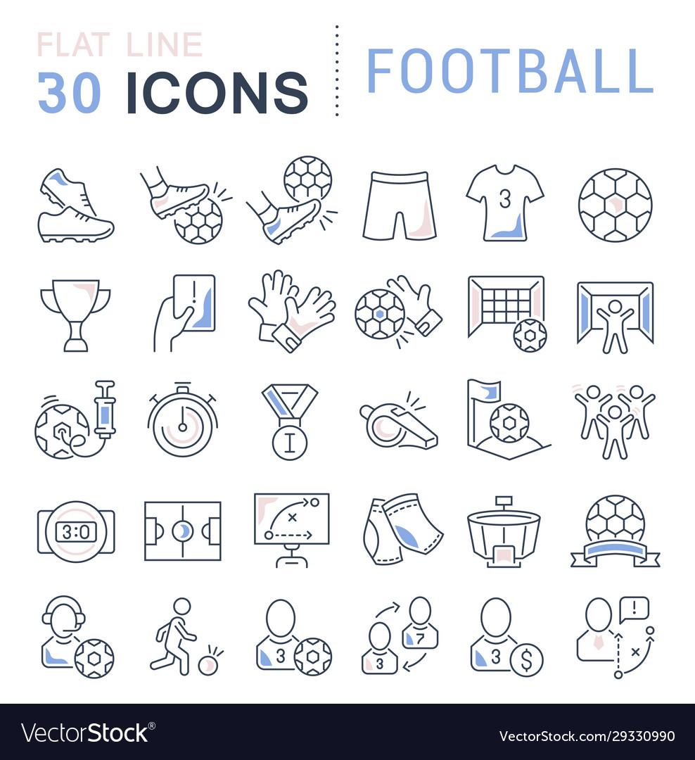 Set line icons football