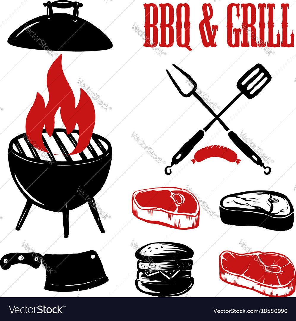 set of hand drawn bbq and grill elements vector image rh vectorstock com bbq victoria tx bbq victoria texas