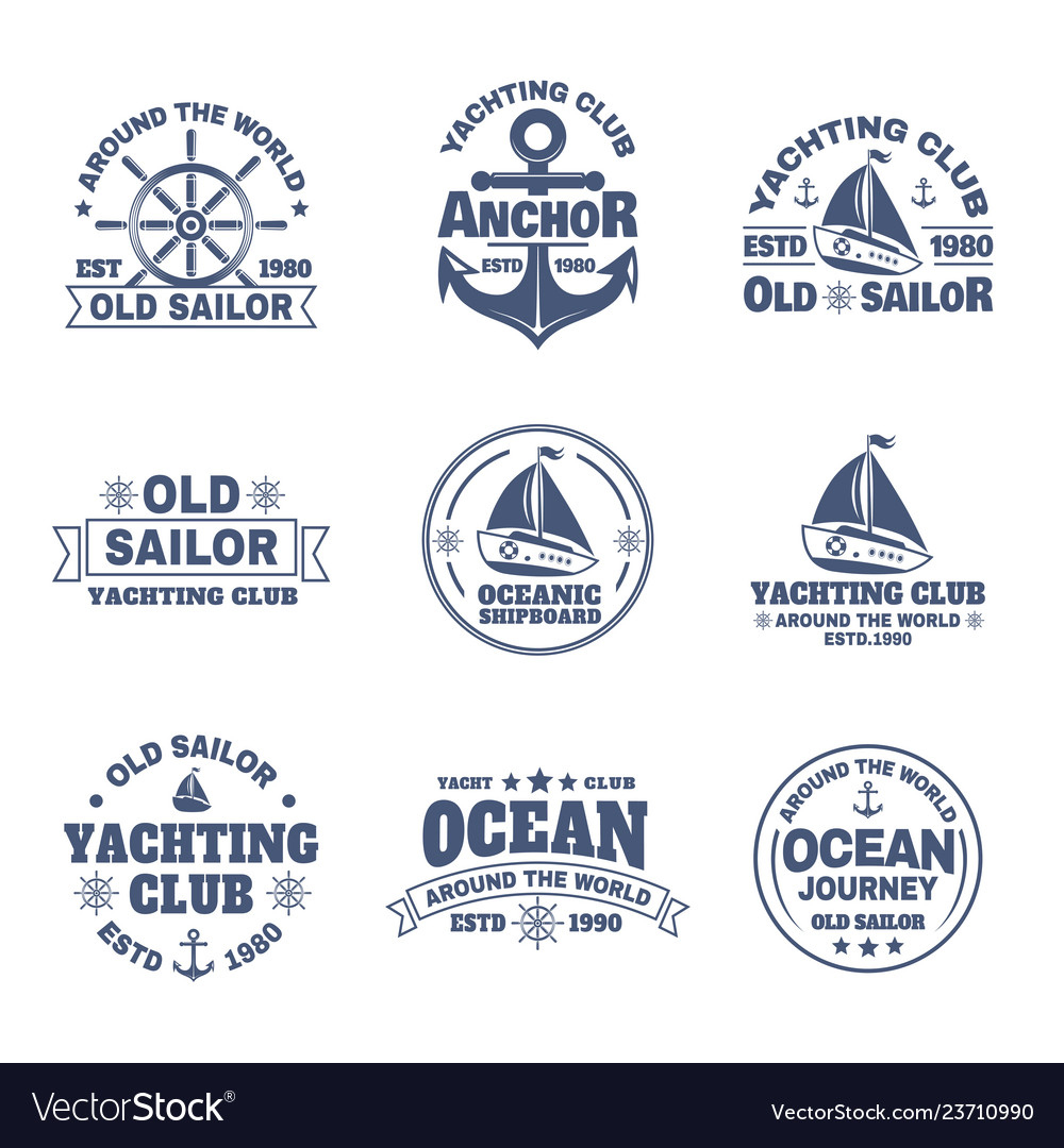 Set of isolated logo with boat or ship yacht