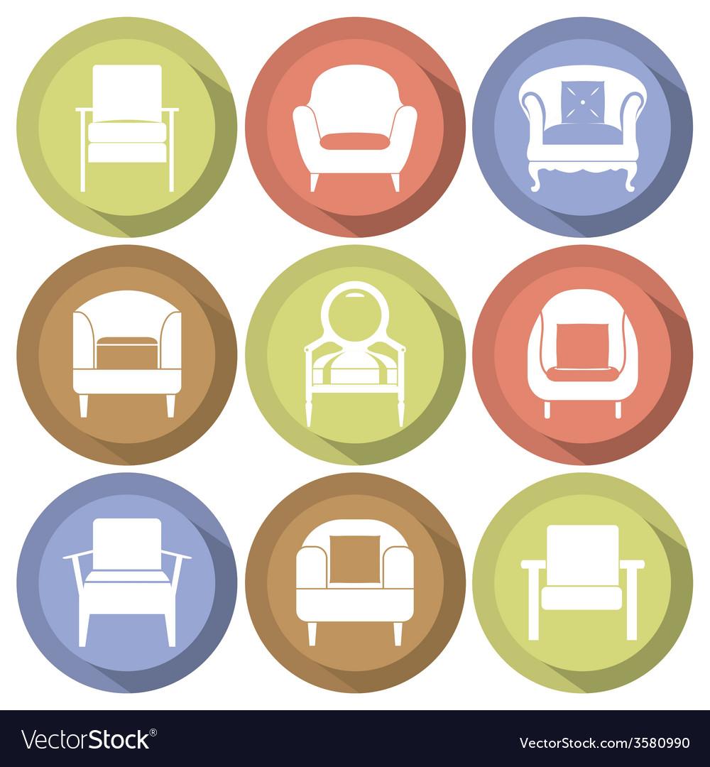 Sofas Icons Set Flat Design